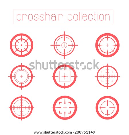 Collection of vector targets isolated on white background. Different cross hair simple flat icons. Aims templates. Shooting marks design.