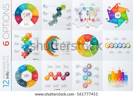Collection of 12 vector templates for infographics with 6 options for presentations, advertising, layouts, annual reports.