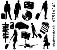 Collection of vector travel  silhouettes : business trip - stock vector