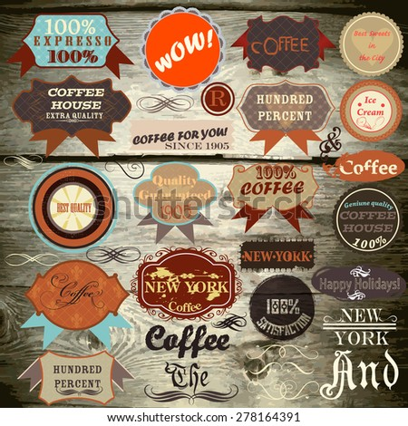 Collection of vector vintage labels on wooden texture - stock vector