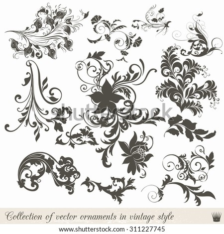 Collection of vector vintage ornaments - stock vector