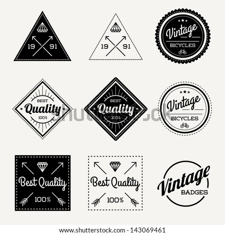 Collection of Vector Vintage Retro Label Set of 9 - stock vector