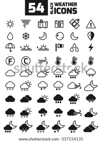 Collection of vector weather icons for your design. Vector Illustration. Meteorology Icons Set. Flat Black Weather Icons in White Background - stock vector