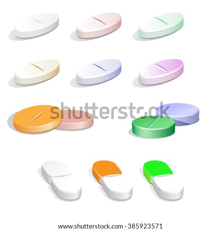 Collection of Vector white and colorful pills on white - stock vector