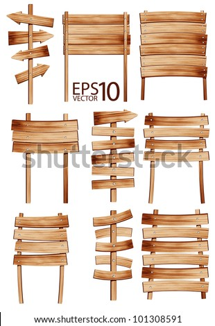 Collection of vector wooden sign and signboard - stock vector