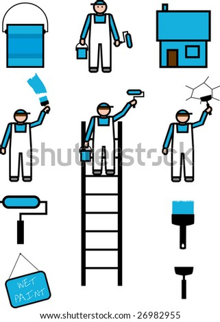 Collection of vector workers and their tools painting and repairing a home. - stock vector