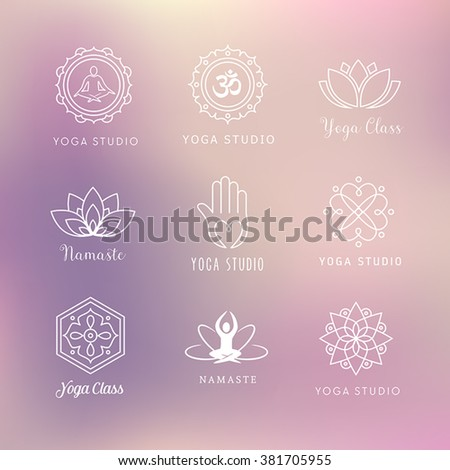 Collection of vector yoga icons - symbols. Meditation, relaxation, wellness. - stock vector