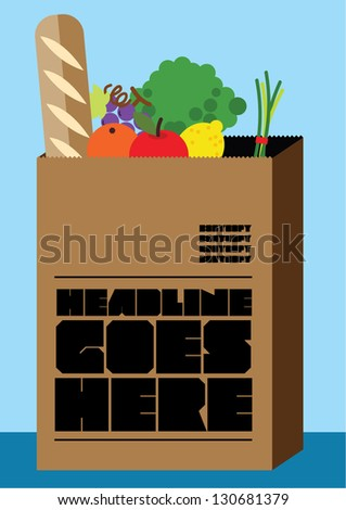 collection of vegetables in the bag/ shopping bag/ layout template/ brochure/ poster design - stock vector