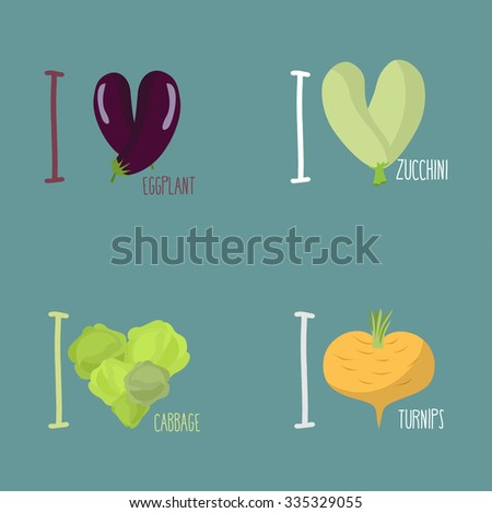Collection of vegetables. Set of I love eggplant, turnips. Symbol of heart of the squash and cabbage. Sign for fans of vegetables-vegetarians. - stock vector