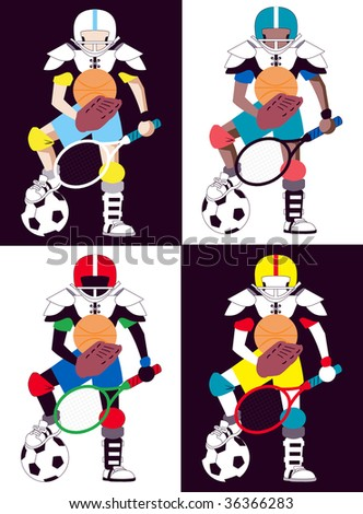 Collection of 4 versions of kid representing all sorts of sports. - stock vector