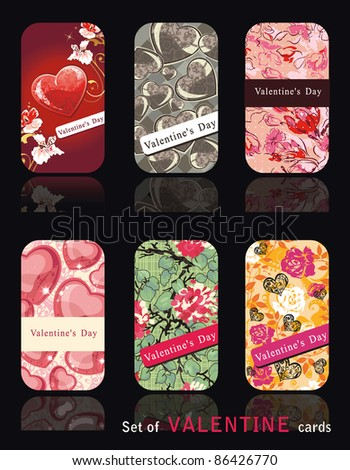 Collection of vertical Business Cards Design. Set of corporate templates on the abstract background with Valentines styles.