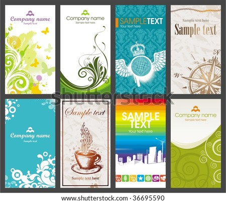 Collection of vertical colorful business card - stock vector