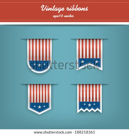 Collection of vertical tags with american motives suitable for web design or independence day promotions. Eps10 vector illustration - stock vector