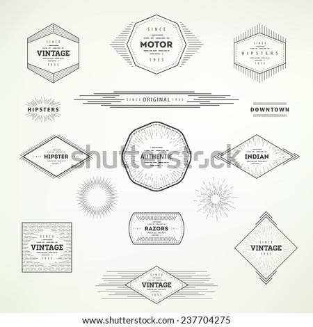 Collection of vintage abstract decorative elements for your design. Hipster labels for poster, advertising, signs, banner creations. - stock vector