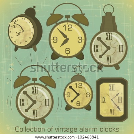 Collection of Vintage Alarm Clocks with Grunge Effect - vector illustration - stock vector