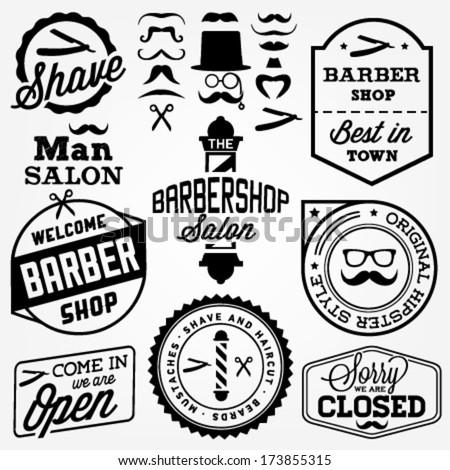Collection of Vintage Barber Shop Design Elements - stock vector