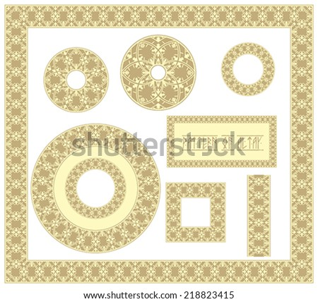 Collection of vintage circular and square ornaments with  traditional elements of ancient Altai pattern. illustration, vector - stock vector