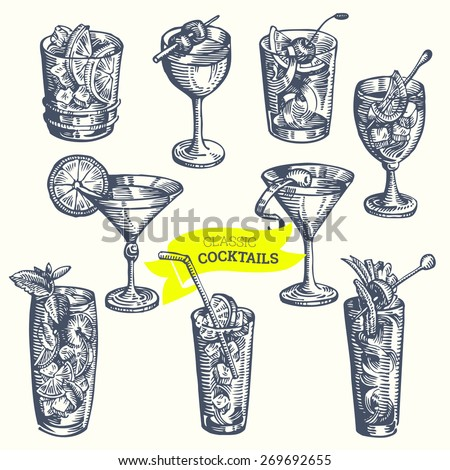 Collection of vintage cocktails. Hand drawn illustrations. Vector. - stock vector
