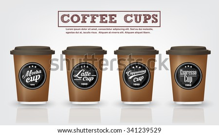 Collection of  vintage coffee badges and logo design on coffee cup on white background, can be used as Logo or label coffee cup in premium quality for Coffee shop, Restaurant .Vector,illustration - stock vector