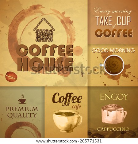 Collection of vintage Coffee Design Elements - stock vector