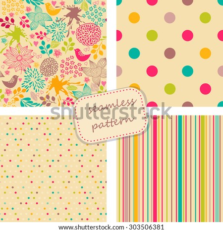 collection of 4 vintage colorful seamless patterns