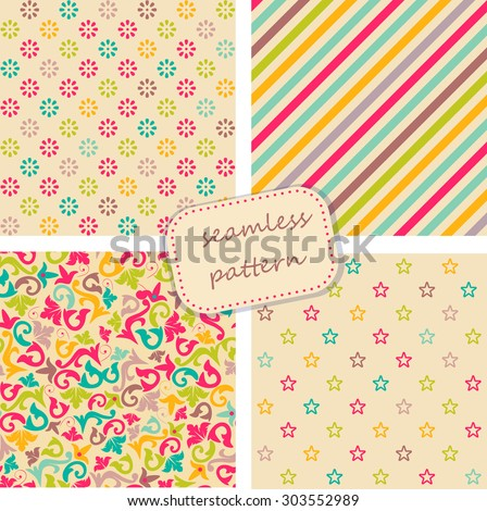 collection of 4 vintage colorful seamless patterns - stock vector
