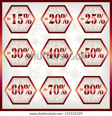 Collection of Vintage Discount Labels with snowflake background and red frame - Vector set - stock vector