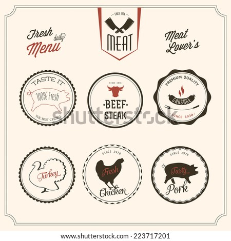 Collection of vintage elements for a restaurant designs - stock vector