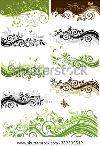 Collection of vintage floral border - stock vector