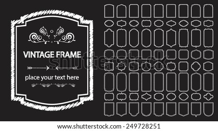 Collection of vintage frames for invitations, restaurant menus, postcards. The frame is painted with chalk. - stock vector