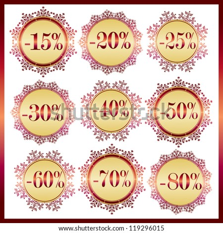Collection of vintage golden discount doily labels with lace frame made of snowflake elements - vector set - stock vector