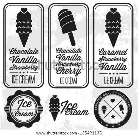 Collection of Vintage Ice Cream Badges and Labels - stock vector