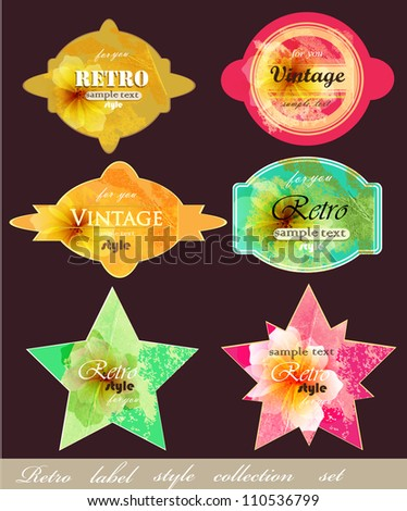 Collection of vintage labels with romantic flowers . Vector design set - stock vector