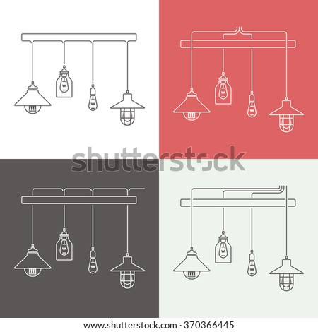 Collection of vintage Lamps, Fixtures.Template for design Business Cover, Invitations, Brochure, Signs, Logos, Elements, Labels, Catalog  and Other Design Elements.Vector illustration. Isolated