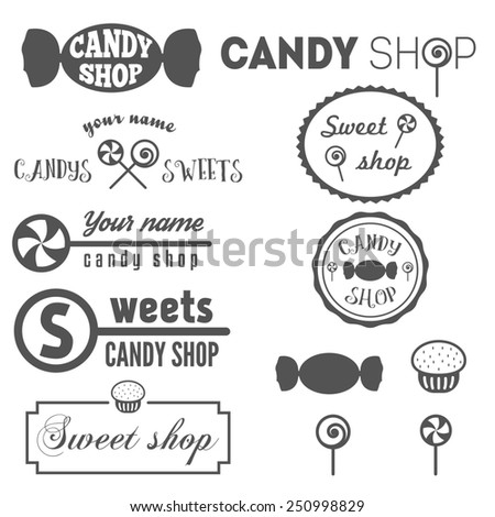 Collection of vintage logo and logotype elements for sweet shop and candy shop - stock vector