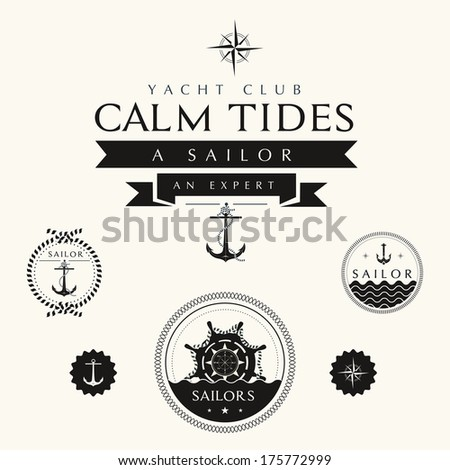 Collection of Vintage Nautical Badges and Labels - stock vector