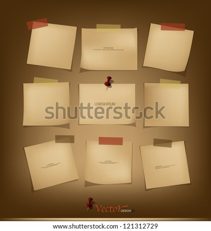 Collection of Vintage paper, ready for your message. Vector illustration. - stock vector