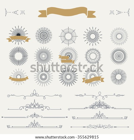 Collection of vintage patterns. Flourishes calligraphic ornaments and dividers. Retro style of design elements, postcard, banners, logos. Vector template - stock vector