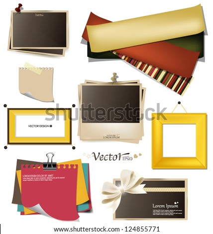Collection of vintage photo frames, frames and paper on a white background. Template for the design in the style of the scrap-bookings. Vector illustration. - stock vector