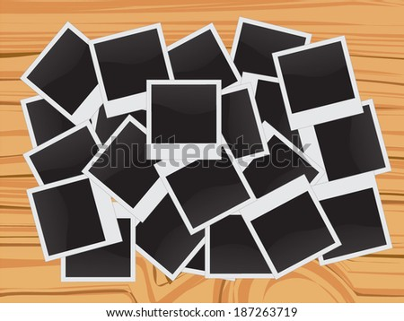 Collection of vintage photo frames on wooden background - stock vector