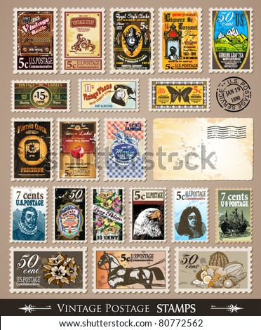 Collection of Vintage Postage Stamps with Various Themes and prices. Empty  distressed postcards and rubber stamps are included - stock vector