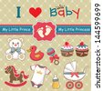 Collection of vintage retro baby label and icon elements - stock vector