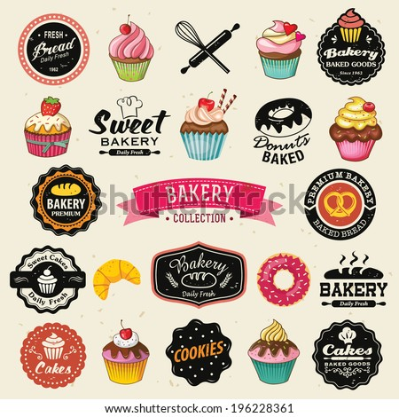 Collection of vintage retro bakery badges and labels. Hand lettering style with cupcakes, croissants, donuts, breads, pretzel and cookies. - stock vector