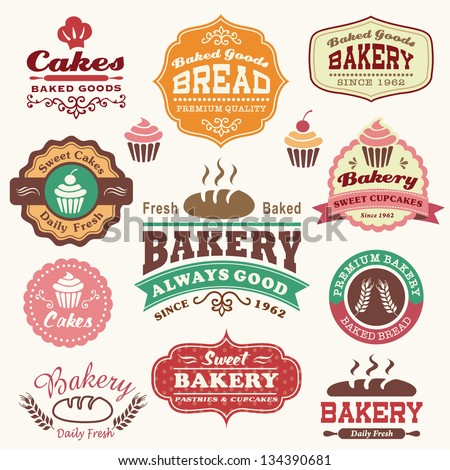 Collection of vintage retro bakery logo badges and labels - stock vector