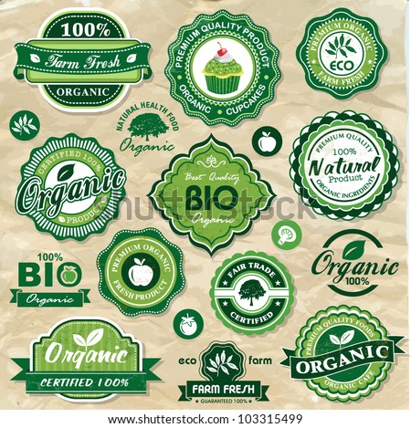 Collection of vintage retro grunge bio and eco organic labels natural products - stock vector