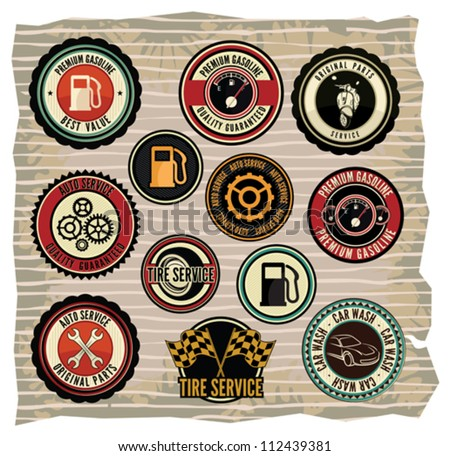 Collection of vintage retro grunge car labels - stock vector