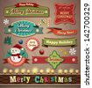 Collection of vintage retro grunge christmas labels, badges and icons - stock photo