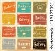Collection of vintage retro grunge food labels - stock vector