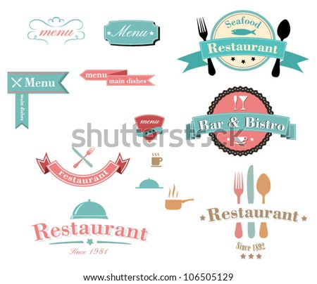 Collection of vintage retro grunge restaurant labels - stock vector
