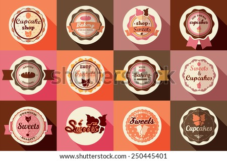 Collection of vintage retro ice cream and cupcake labels, stickers, badges and ribbons, vector illustration - stock vector